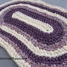 royal amethyst crocheted oval shape rag rug eco friendly washa