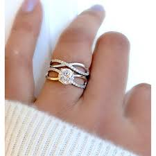 Amazing Infinity Wedding Ring Set 925 Sterling Silver Lady Twisted