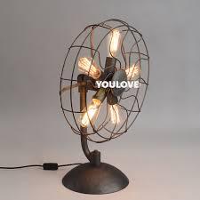 american country retro fan desk lamps vintage novelty fan table lights fixture european home indoor lighting
