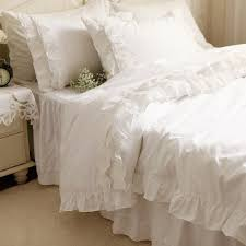 cotton white ruffle bedding sets