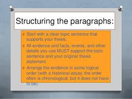 chronological essay ideas