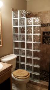 here we have a 32 x 72 walk in glass block shower wall that incorporates the standard wave pattern as well as the oceanview in a stair step look to give