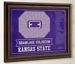 K State Basketball Seating Chart Kansas State Wildcats Bramlage Coliseum Seating Chart College Basketball Blueprint Art