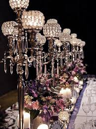 entranching crystal candelabra chandelier at table top wedding centerpiece silver