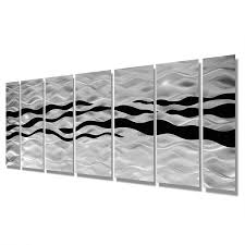 wild ways silver and black modern metallic wall hanging contemporary metal wall art 68 x 24  on silver grey metal wall art with wild ways silver and black modern metallic wall hanging