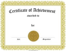 Printable Achievement Certificates Achievement Certificate Templates Condo Financials Com