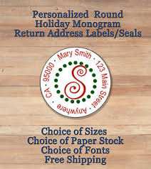 Monogram Return Address Labels Personalized Round Holiday Christmas Monogram Return Address Labels