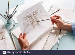 Interior Design Concept Paper Interior Designer Holding Hand Drawing Pencil Sketch Of A