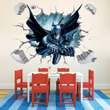 batman through wall stickers with decor decal art removable vinyl home art decor for kids