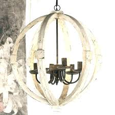 small wood chandelier chandeliers white distressed globe wooden and iron orb