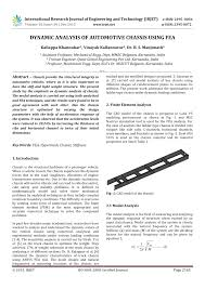 Ladder Frame Chassis Design Calculations Pdf Dynamic Analysis Of Automotive Chassis Using Fea