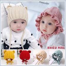 Mũ len dệt kim thu đông (có dây buộc), giữ ấm cho bé từ 4 tháng- 3 tuổi tại Hà  Nội