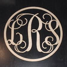 vine monogram circle wooden letters wall plaque 12
