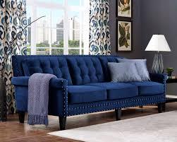 Blue Tufted Sofa Meridian Furniture Reese 2pc Modern Light Velvet ...