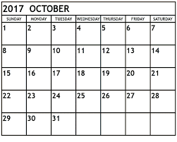free printable october 2017 calendar calendar 2017 template