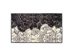 Backed MatBlack & Ivory Floral Damask Doormat Accent Non Slip Rug ...
