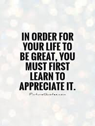 Quotes About Appreciating Life Gorgeous In Order For Your Life To Be Great You Must First Learn To