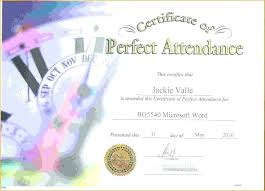 Perfect Attendance Certificate Template Award Printable