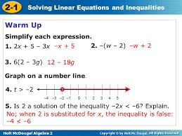 solving linear equations and inequalities warm up 2 warm