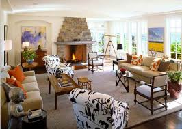 Fantastic Stone Fireplace For Cozy Family Room Decoration With White  Printed Armchairs