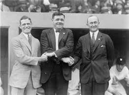 baseball stars here for the world series l to r george sisler  l to r george sisler babe ruth and ty cobb
