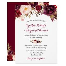 Burgundy Red Marsala Floral Chic Fall Wedding Card | Zazzle.com
