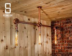 details about industrial steel 3 bar ceiling light finished in copper