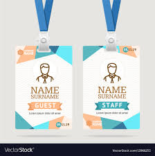 Id Cards Template Id Card Template Plastic Badge Vector Image On Vectorstock