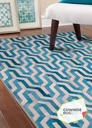geometric blue cowhide rug 2