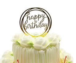 Amazoncom Happy Birthday Cake Topper Kootips Acrylic Gold Twinkle