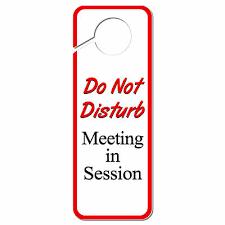 Do Not Disturb Plastic Door Knob Hanger Sign Session In Progress