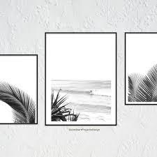 おしゃれアート3点セット サーフ ビーチ パーム 夏 リゾート 白黒 お得
