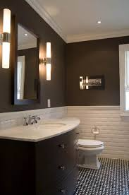 bathroom chair molding. yummy chocolate brown modern bathroom with chair rail and beveled subway tiles backsplash, walls paint color, crisp white crown molding, molding