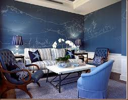 Nautical Chart Wall Mural Kcolemansittingroom Map Collage Blue Painted Walls