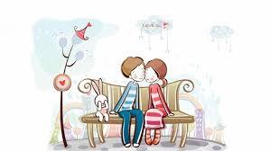 cute cartoon love couple wallpaper data