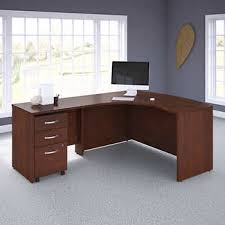 Office desks with drawers Small Space Business Office Pro Left Handed Lshaped Desk With 3drawer Mobile Pedestal In Hansen Cherry Costco Wholesale Business Office Pro Left Handed Lshaped Desk With 3drawer Mobile