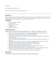 Porter Resume Examples Maintenance Porter Resume Pdfsimpli