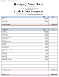 Profit And Loss Account Printable Blank Profit And Loss Statement Blank Profit And Loss