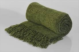 Green Chenille Throw Blanket