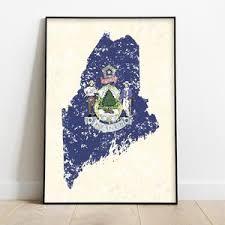 Accents home furnishings & decor, inc. Maine Print Printable Maine Art Print State Flag Maine Etsy