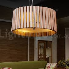 contemporary wood drum pendant light