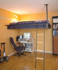 Bunk beds suspended from the ceiling and attached to the studs in the walls.  Opens
