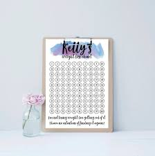 Custom Weight Loss Visualisation Chart Tracker Print With Pdf Included Personalised With Your Name Goal Message Celebration Call Out