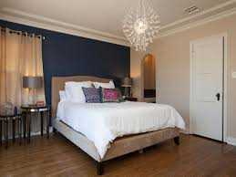Bedroom:Nice Looking Blue Accent Wall In Contemporary Bedroom With Unique  Crystal Chandelier And Laminated