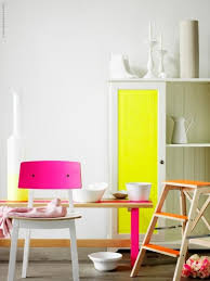 neon furniture. Furniture:Awesome Neon Kitchen With Yellow Accent Cabinet Near Pink Wood Bench Seat White Furniture