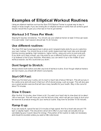 Examples Of Elliptical Machine Workout Routines