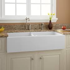 pretty white farmhouse sink l smooth reversible concave face double fireclay