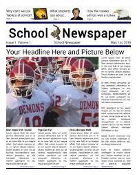 School Newspaper Layout Template School Front Page 4 Column Elementary Newspaper Club School