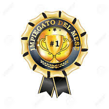 Employee Of The Month Award Employee Of The Month In Italian Language Elegant Award Ribbon