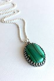 green malachite necklace natural stone jewelry oval gemstone pendant long silver chain emerald green stone necklace